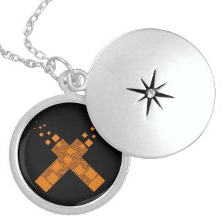 Orange flame death cult cross fire torch Halloween Round Locket Necklace