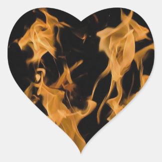 Orange Flame Heart Sticker