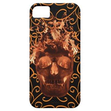 Orange Flame Skull iPhone 5G Case