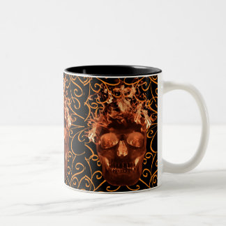 Orange Flame Skull Mug
