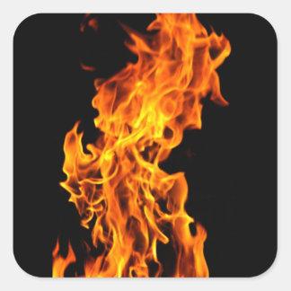 Orange flame square sticker