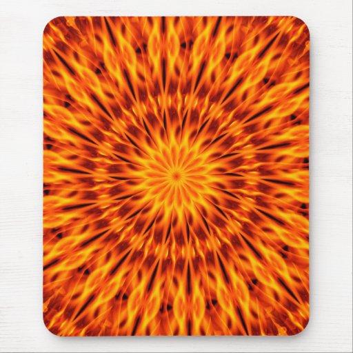 Orange Flames Kaleidoscope Mouse Pad