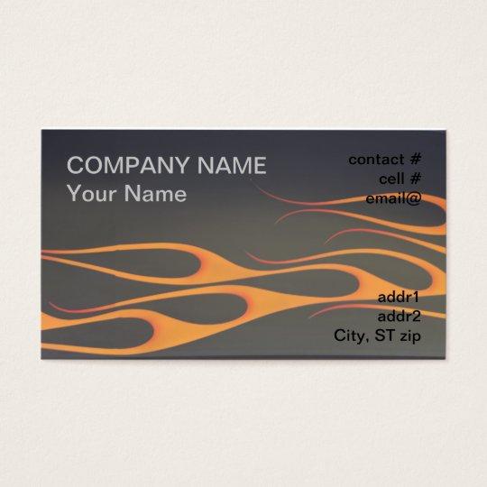 orange flames on black business card
