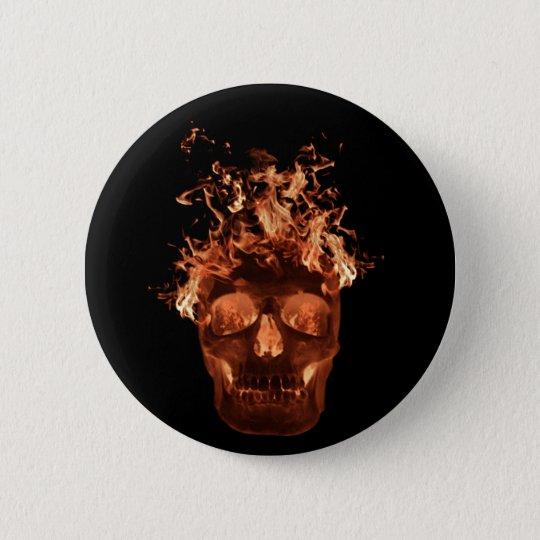Orange Flaming Skull Button