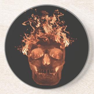 Orange Flaming Skull Coaster