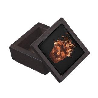 Orange Flaming Skull Keepsake Box