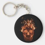Orange Flaming Skull Key Chain