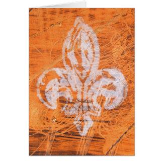 Orange Fleur-de-lis Mixed Media Card