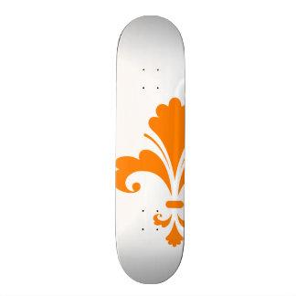 Orange Fleur de lis Skateboard