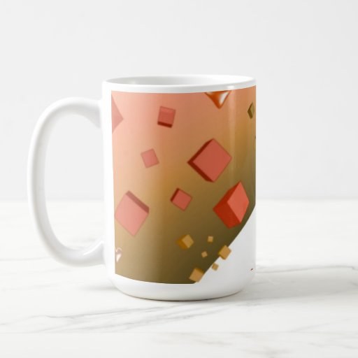 Orange Floating Hearts and Cubes Coffee Mugs