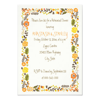 Orange floral border wedding rehearsal dinner card