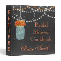 orange floral Chalkboard Mason Jar Recipe Folder