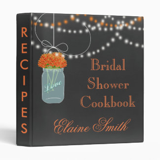 orange floral Chalkboard Mason Jar Recipe Folder Binder
