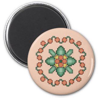 Orange Floral Cross Stitch Magnet