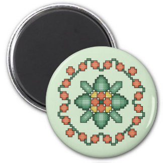 Orange Floral Cross Stitch Quilt Square Magnet