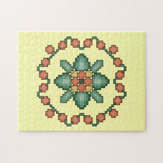Orange Floral Cross Stitch Quilt Square Puzzle