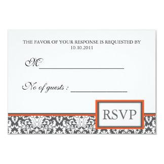 "Orange floral Damask RSVP Invite 3.5"" X 5"" Invitation Card"
