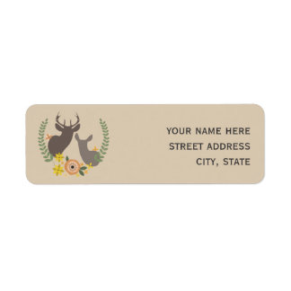 Orange Floral Deer Address Label