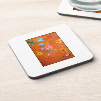 Orange Floral Design. Coaster