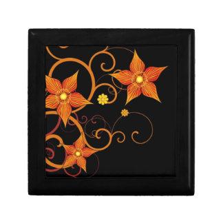 Orange Floral Design Jewelry Box