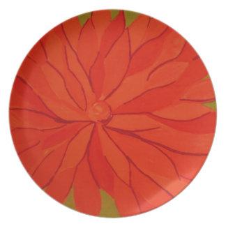 orange floral dinner plate