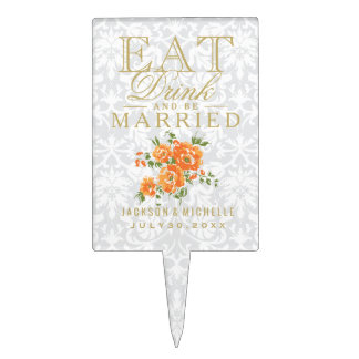 Orange Floral - Eat, Drink and Be Married Cake Topper