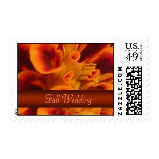 Orange Floral Fall Wedding Postage Stamp