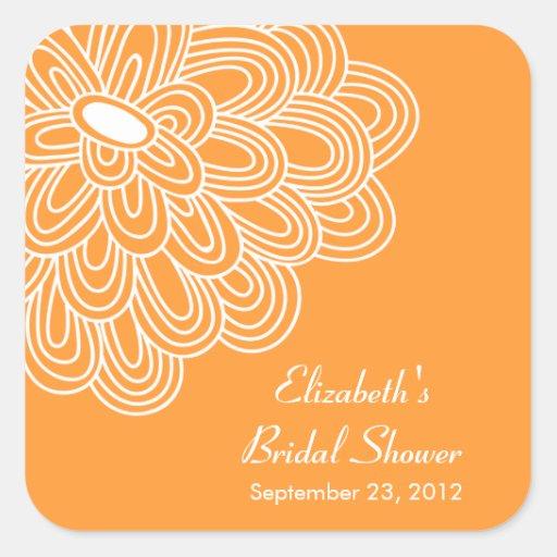 Orange Floral Flowers Bridal Shower Favor Sticker