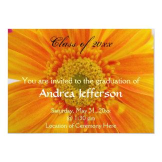 Orange Floral Graduation Invitation