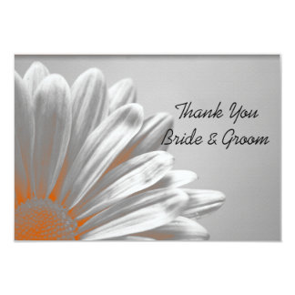 Orange Floral Highlights Wedding Thank You Notes Card