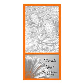 Orange Floral Highlights Wedding Thank You Photo Greeting Card