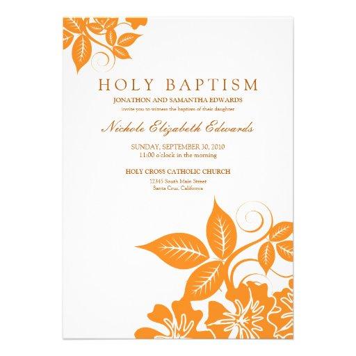 Orange Floral Holy Baptism Invitation