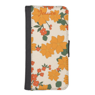 Orange Floral iPhone 5 Wallet Style Case