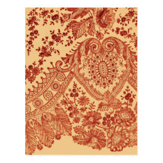 Orange Floral Lace Post Card