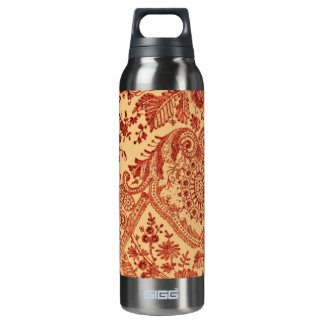 Orange Floral Lace 16 Oz Insulated SIGG Thermos Water Bottle