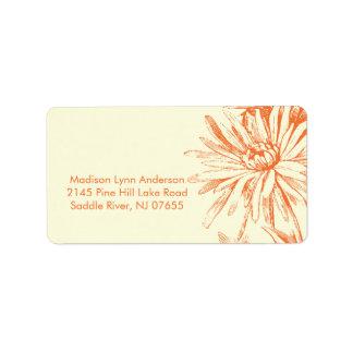 Orange Floral on Cream Return Address Labels.