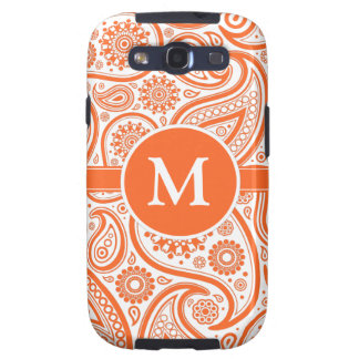 Orange Floral Paisley Monogram Pattern Galaxy S3 Case