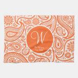 Orange Floral Paisley Monogram Pattern Hand Towels