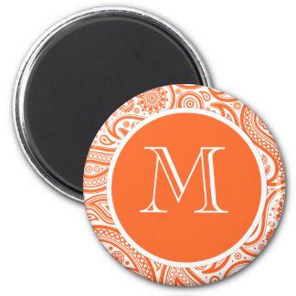 Orange Floral Paisley Monogram Pattern Magnet
