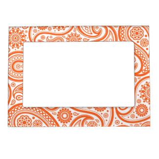 Orange Floral Paisley Monogram Pattern Magnetic Frame