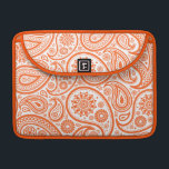 "Orange Floral Paisley Monogram Pattern Sleeve For MacBook Pro<br><div class=""desc"">Elegant orange and white paisley floral pattern with Optional monogram or name for electronic devices sleeves and planners.  Personalize your gift by adding your own initials or name.  Choose your own font and color text.</div>"