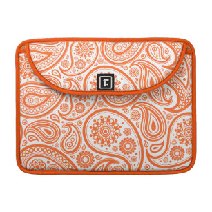 Orange Floral Paisley Monogram Pattern Sleeve For MacBook Pro