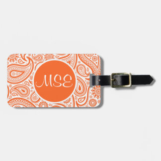 Orange Floral Paisley Pattern Bags Tag For Luggage