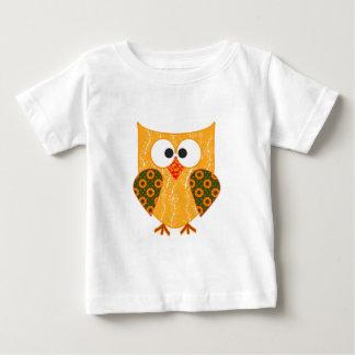 Orange Floral Patchwork Applique Style Owl Baby T-Shirt