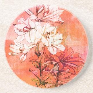 Orange Floral Pattern Sandstone Coaster