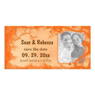 Orange Floral Photo Save The Date Announcement