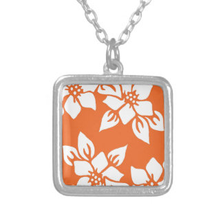 Orange Floral Print Silver Plated Necklace