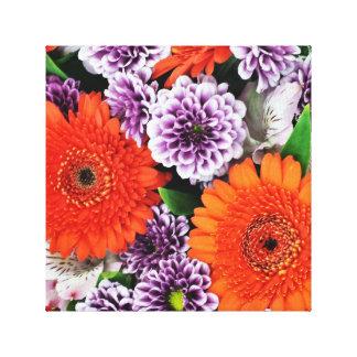 Orange Floral Purple Flowers Wrapped Canvas Canvas Print
