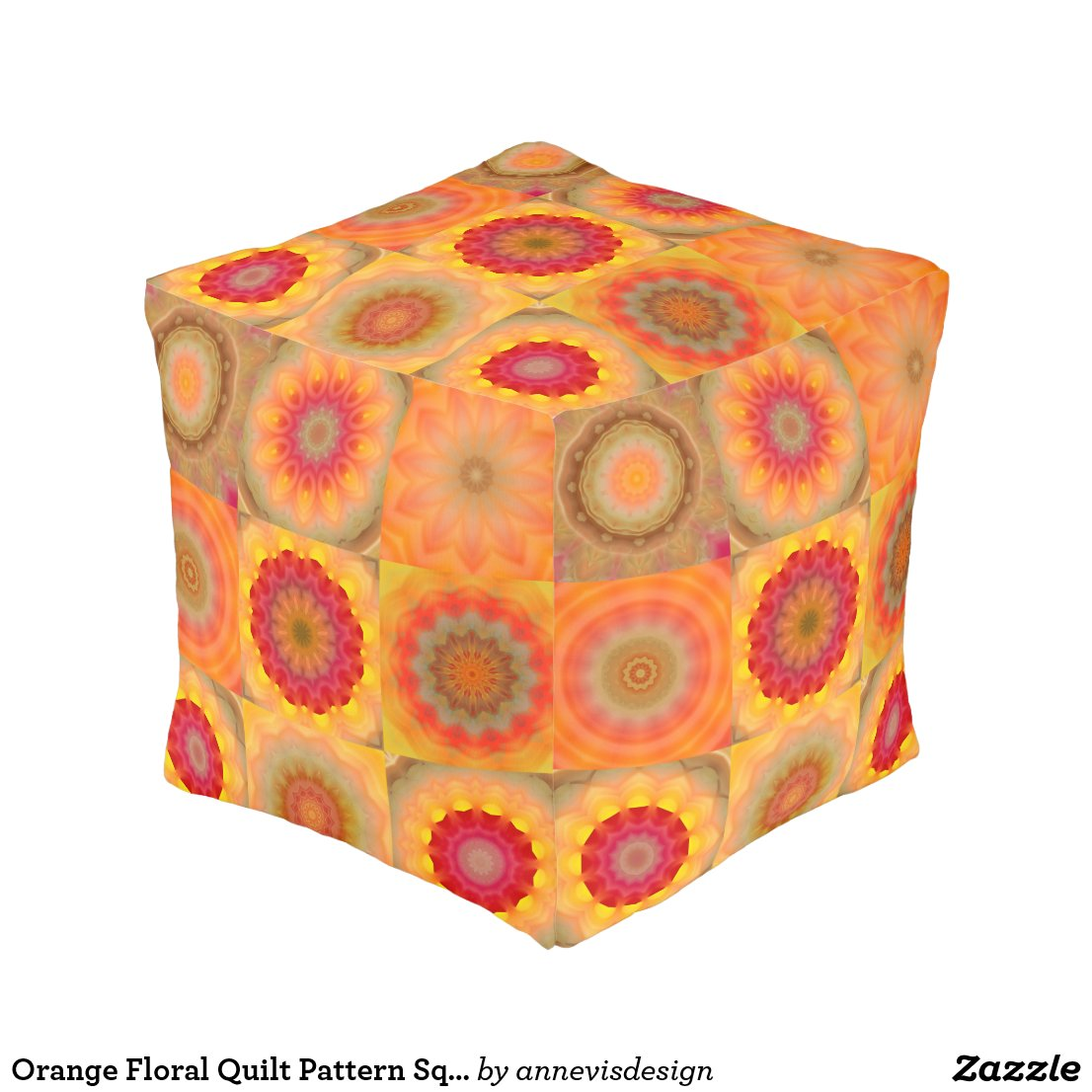 Orange Floral Quilt Pattern Square Pouf
