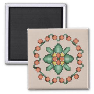 Orange Floral Quilt Square Cross Stitch Magnet